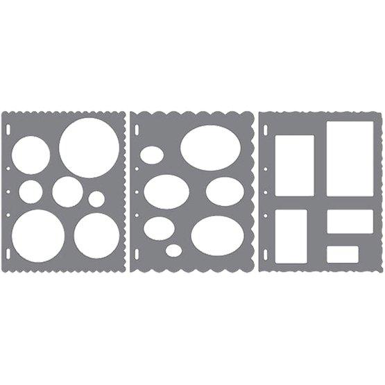 ShapeTemplate - Conjunto de 3 plantillas (Círculos, Óvalos, Rectángulos)