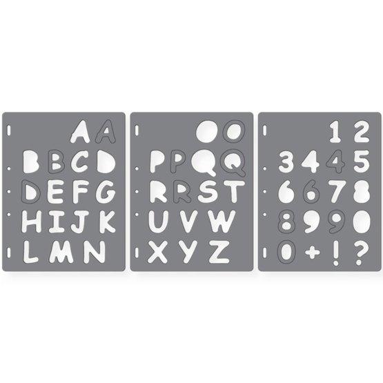 ShapeTemplate - Letras n3 - Conjunto de 3 plantillas Letras Maysculas & Nmeros